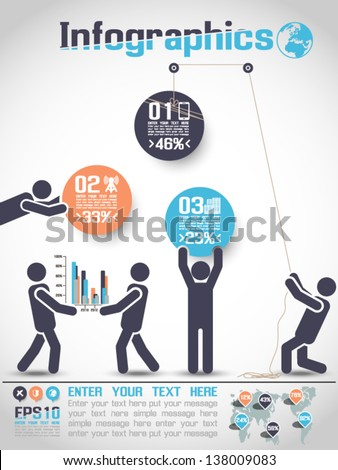 INFOGRAPHICS MODERN BUSINESS BUBBLE ICON MAN STYLE 2 - stock vector