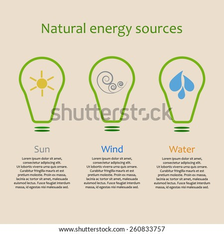 Infographics of alternative energy sources. Solar, wind and water power signs with copy space - stock vector