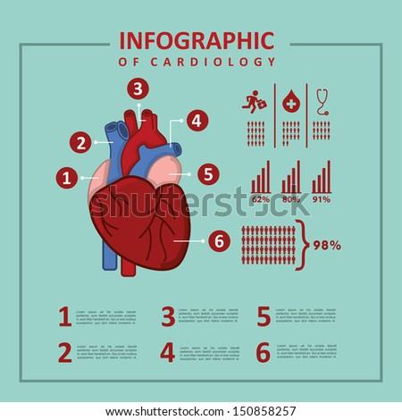 infographics of cardiology design over blue background vector illustration  - stock vector