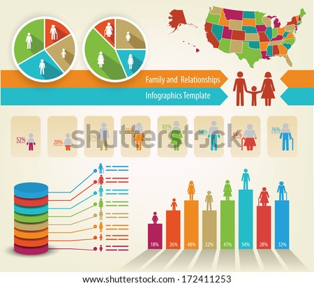 Infographics of family tree and statistics - stock vector