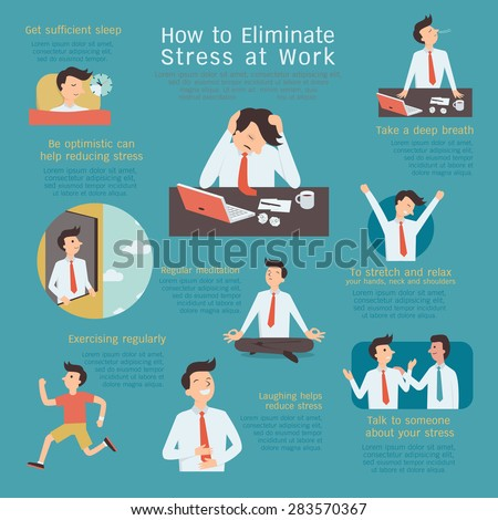 Infographics of how to eliminate or reduce stress at workplace. Simple character with flat design.  - stock vector