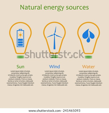 Infographics of natural energy sources. Solar, wind and water power signs with copyspace - stock vector