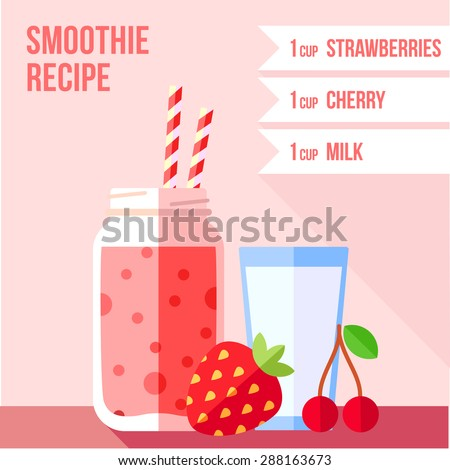 Infographics of strawberry and cherry smoothie recipe. Menu element for cafe or restaurant. Fresh juice for healthy life. - stock vector