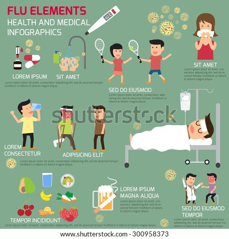 Infographics of the flu elements. protect yourself from the flu. vector illustration. - stock vector