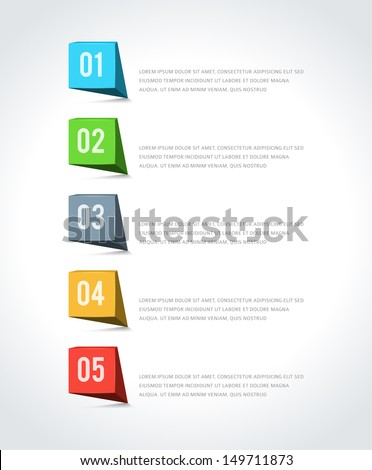Infographics options design elements. Vector illustration. 3d banner numbers and icons website eps 10.  - stock vector