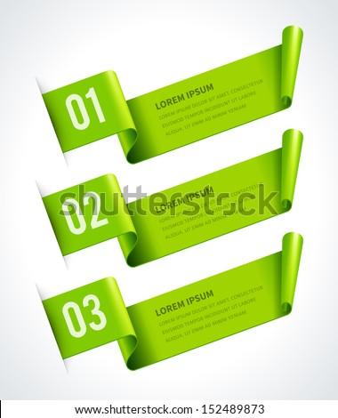 Infographics options design elements. Vector illustration. Scroll paper banner or header numbers website eps 10.  - stock vector