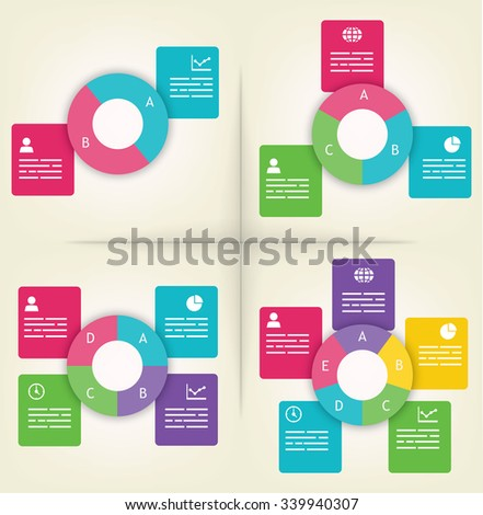 Infographics presentation templates with 2, 3, 4 and 5 elements - stock vector