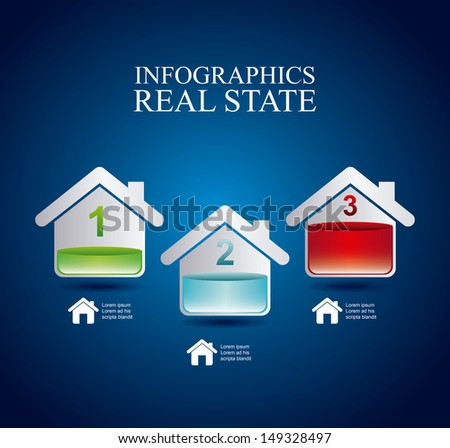 infographics real estate over blue background vector illustration  - stock vector