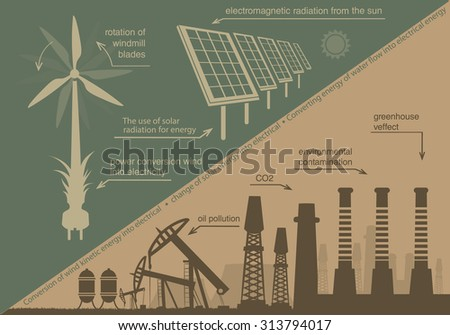 infographics renewable energy. natural resources and the production of electricity - stock vector