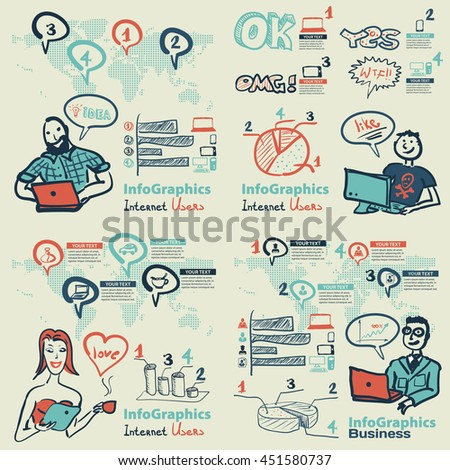 Infographics set in the style of a sketch of the global Internet users and coworking - stock vector