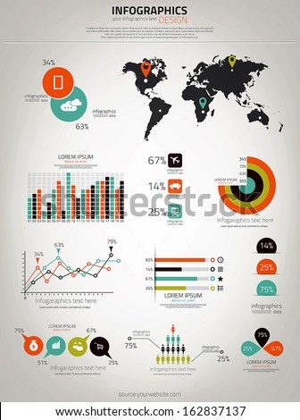 Infographics set. World Map and Graphics. Vector - stock vector