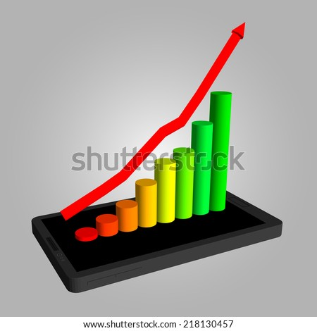 Infographics showing growth in sales of smartphones. The increase in profits. Schedule to increase profits. - stock vector