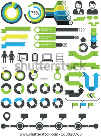 Infographics - statistic elements and icons - stock vector