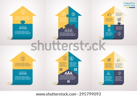 Infographics step by step with arrows. Universal abstract element of chart, graph, diagram with 2, 3, 4 steps, options, parts, processes. Vector template for presentation and training. - stock vector