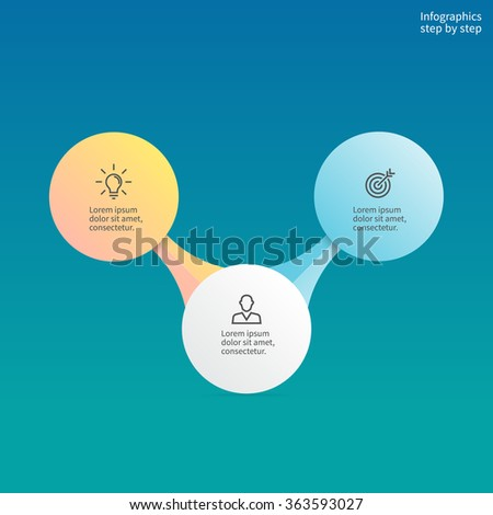 Infographics step by step with central element. Chart, diagram with 2, 3 steps, options, parts, processes. Vector business template. Hierarchical infographics. - stock vector