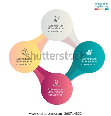 Infographics step by step with 4 connected elements. Diagram, chart, graph with 4 steps, options, parts, processes. - stock vector
