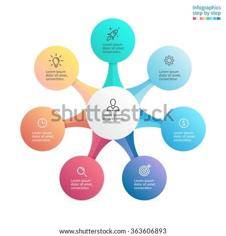 Infographics step by step with radial structure. Chart, diagram with 7, 8 steps, options, parts, processes with main element in center. Vector business template.  - stock vector