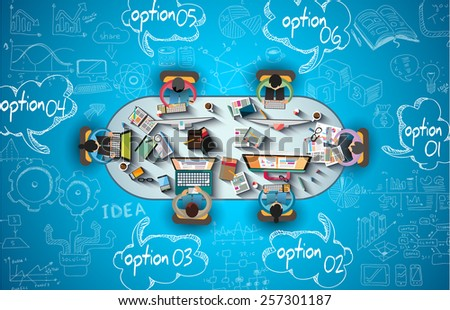 Infographics Teamwork with Business doodles Sketch background: infographics vector elements isolated, . It include lots of icons included graphs, stats, devices,laptops, clouds, concepts and so on. - stock vector