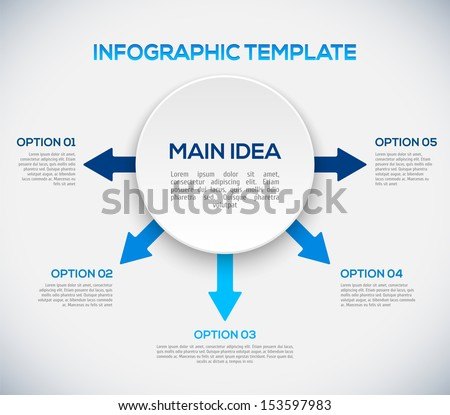 Infographics template with arrows and 3D circle. Different Way Infographics - stock vector