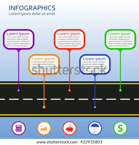 Infographics template with asphalt road and business icons. Horizontal step infographics design elements. Colorful vector illustration. - stock vector