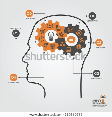 Infographics template with head, brain, gears and business icons. Concept modern business - stock vector