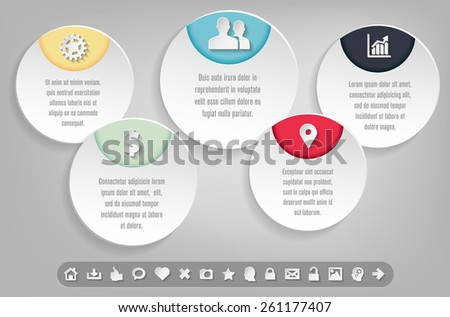 Infographics template with set of icons and sample text. Vector illustration. - stock vector