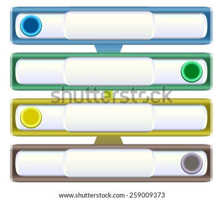 Infographics template with sliders, metal banners and buttons - stock vector