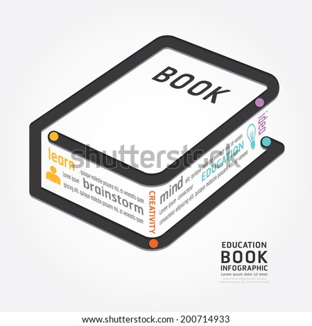 infographics vector book design diagram line style timeline template - stock vector