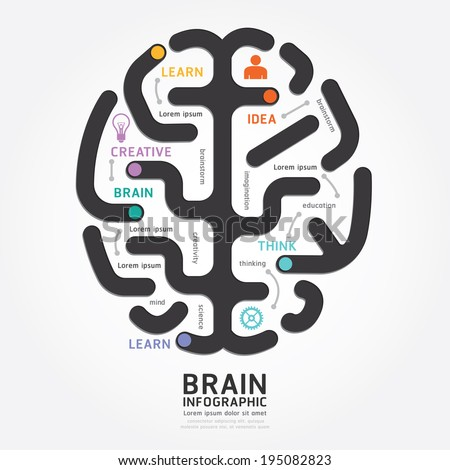 infographics vector brain design diagram line style template - stock vector