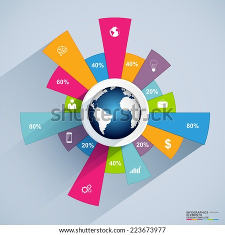 Infographics vector design template with globe  - stock vector