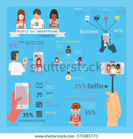 Infographics vector illustration of smartphone utilities, people character, multi-ethnic, simple and flat design style.  - stock vector