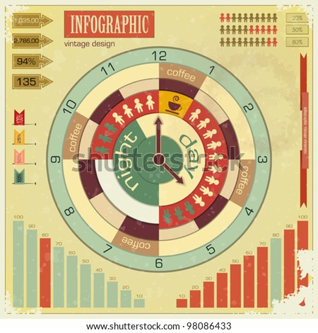 Infographics vintage elements - work time concept - vector illustration - stock vector