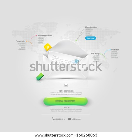 Infographics: Website template elements Vcard  with mail envelope. - stock vector