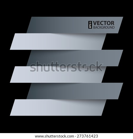 Infographics white and grey paper rectangle banners with shadows on black background. RGB EPS 10 vector illustration - stock vector