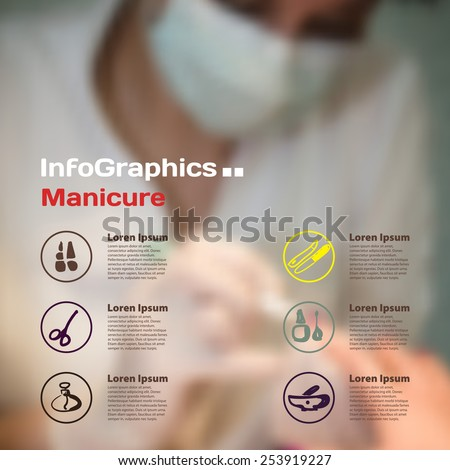 Infographics with blurry photographic background with manicure icons - stock vector