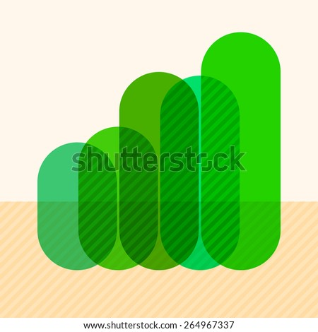 Infographics with rising green overlapping bars and marked sectors - stock vector
