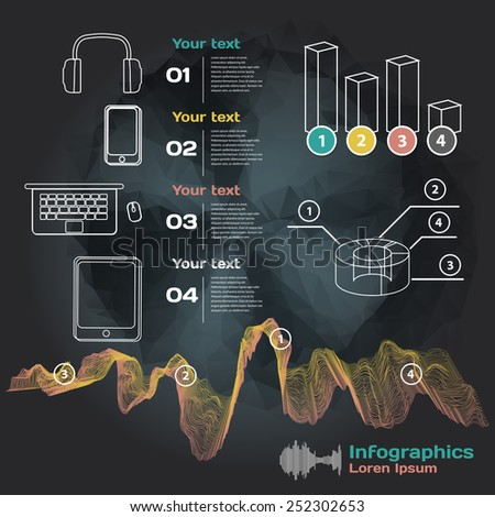 infographics with sound waves and devices on a dark background  - stock vector