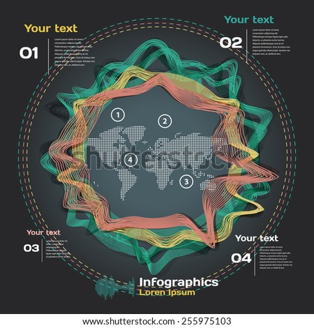 infographics with sound waves on world's map - stock vector