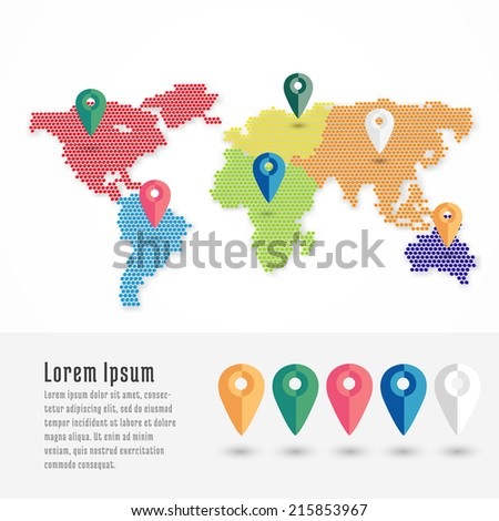 Infographics World map from dots with pointer marks, communication concept. - stock vector