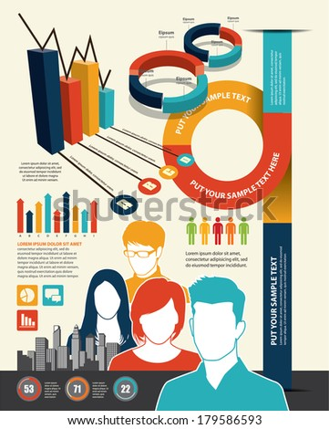 Inforgraphic icons with group of people - stock vector