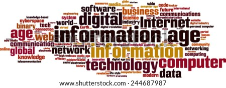 Information age word cloud concept. Vector illustration - stock vector