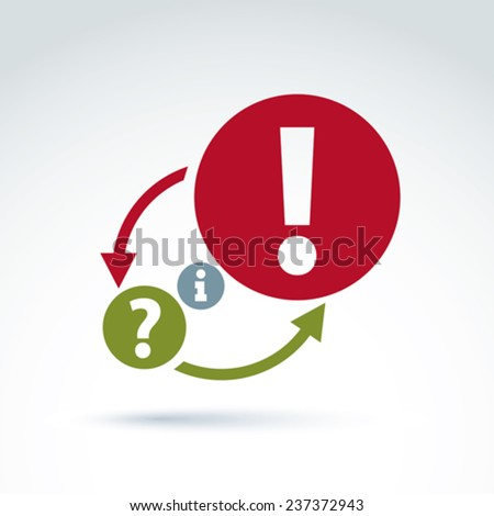 Information analyze and exchange theme icon, vector conceptual unusual symbol for your design. - stock vector