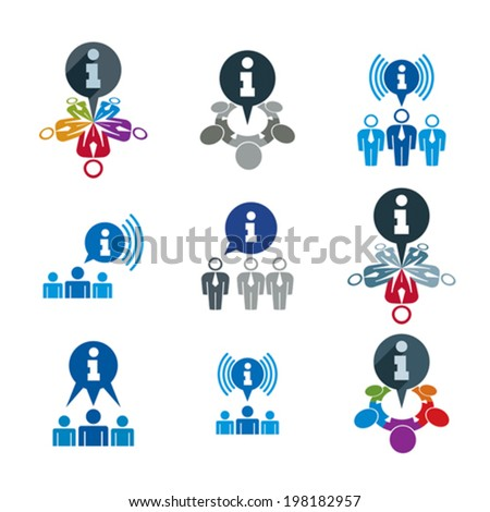 Information analyzing collecting and exchange theme icon set, analyze and solution, teamwork and social media, vector conceptual unusual symbols for your design. - stock vector