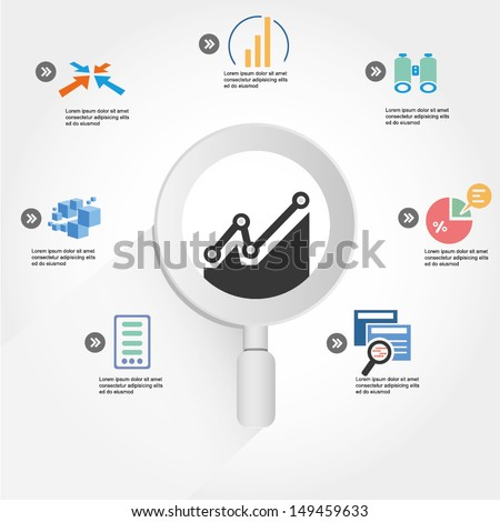information management, data analysis, analytic info graphic, icons - stock vector