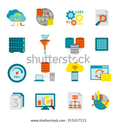 Information processing computer software and data analytics for better business decisions flat icons set abstract isolated vector illustration - stock vector