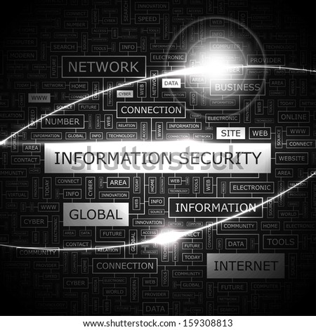 INFORMATION SECURITY. Concept vector illustration. Word cloud with related tags and terms. Graphic tag collection. Wordcloud collage.  - stock vector