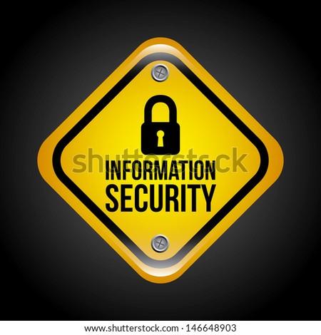 information security over black background vector illustration - stock vector