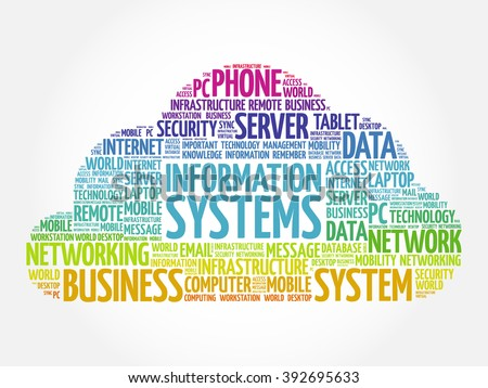 Information Systems word cloud concept - stock vector