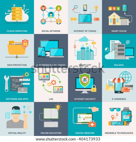 Information technologies concept flat icons with electronic devices software and internet isolated vector illustration - stock vector