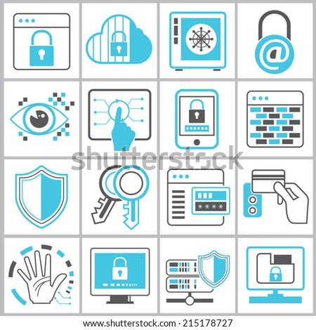 information technology security icons set, security system icons, network security icons - stock vector